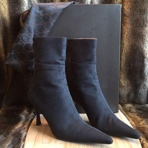 Gucci Monogram Black Canvas Ankle Boots Sz 9